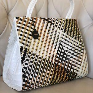 Nancy Gonzalez Large Wallis Frame Croc Leather Bag